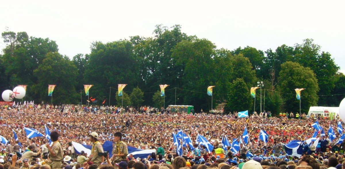 Crowds of scouts at the World Scout Jamboree